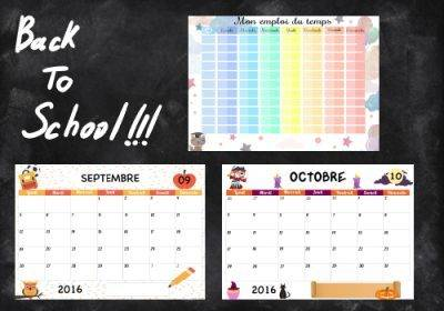 Emploi du temps et calendriers pour la rentrée