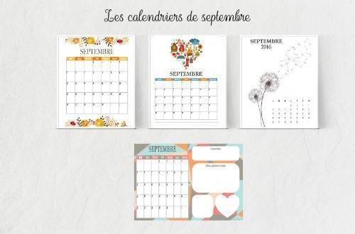 Calendriers de septembre gratuits