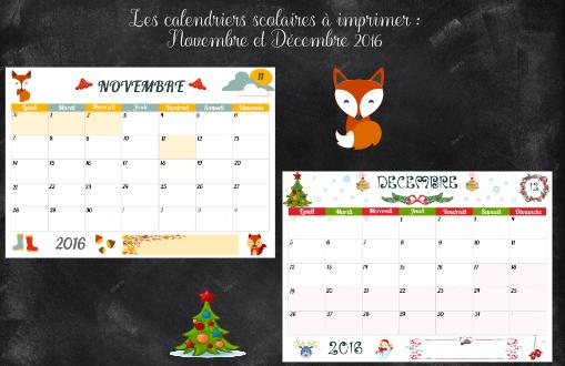 calendriers scolaires novembre décembre 2016