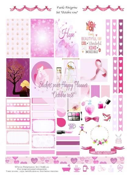 stickers à imprimer pour Happy Planner ✯ Octobre rose