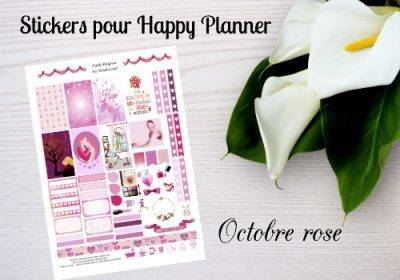 """Free printable stickers for Happy Planner """"Pink October"""""""
