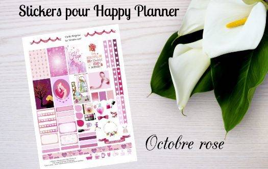 "Free printable stickers for Happy Planner ""Pink October"""