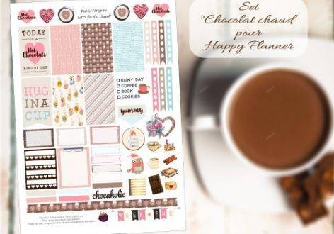Free printable stickers for planner - Hot Chocolate