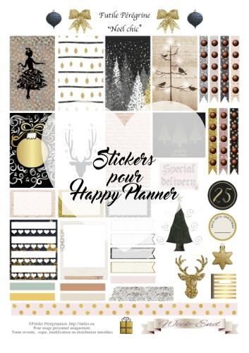 stickers à imprimer pour Happy Planner ✯ Noël chic