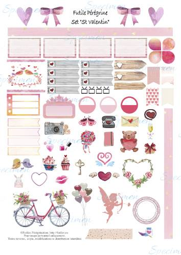 Free printable Valentine day set for Happy Planner