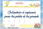 Le calendrier de mars 2017 à imprimer pour les petits (ou les grands !)