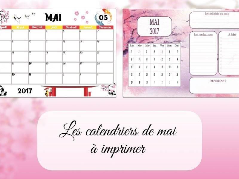 calendriers de mai à imprimer