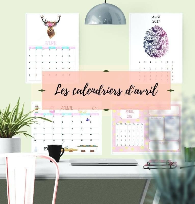 calendriers d'avril à imprimer