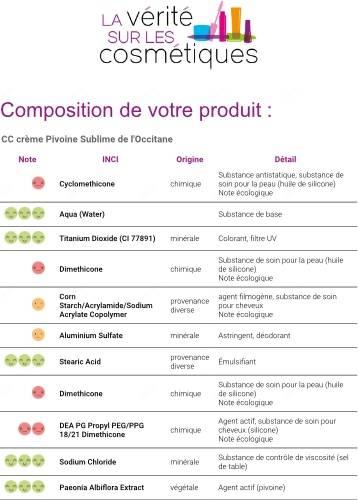 composition cc crème Pivoine Sublime