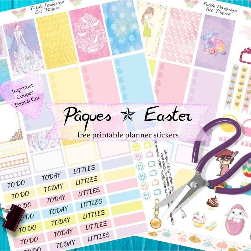 stickers à imprimer pour planners ✯ Pâques