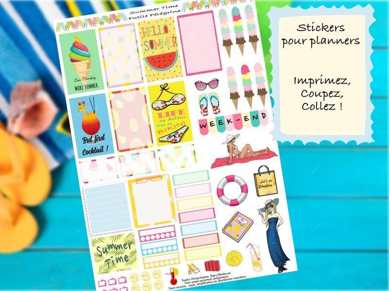 Free printables Summer stickers