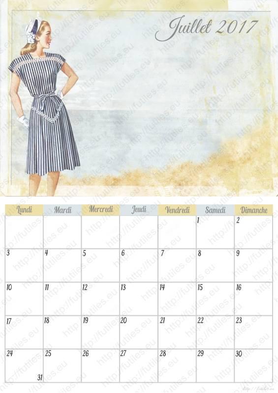Calendrier rétro à imprimer juillet 2017