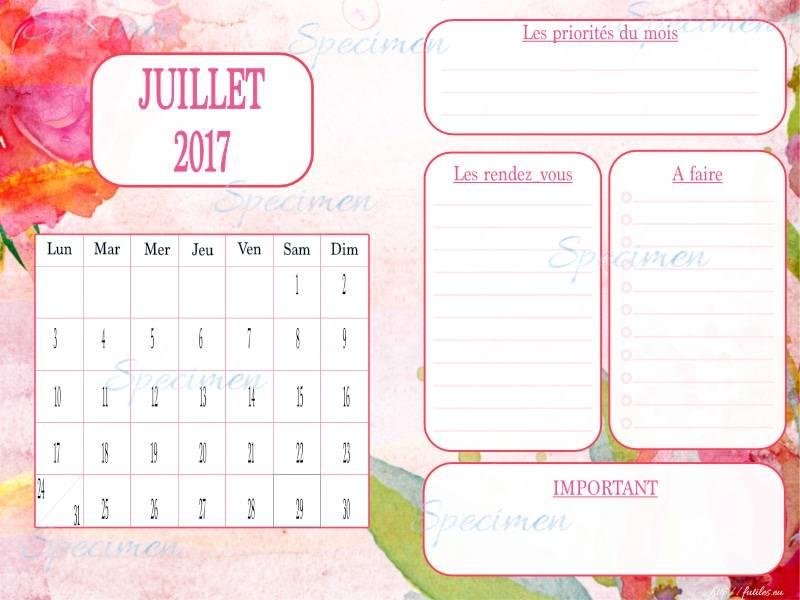 calendrier planner juillet 2017
