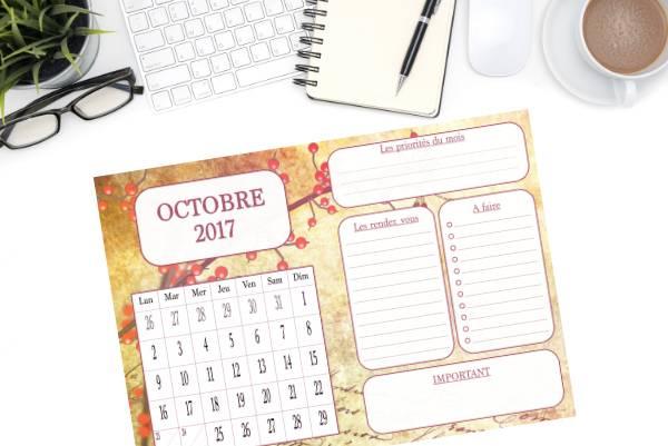 calendriers d'octobre 2017 à imprimer planner
