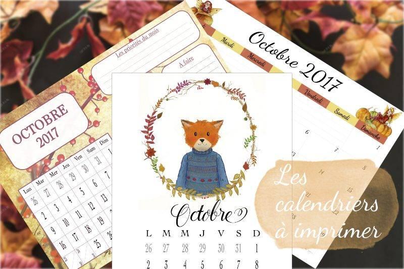 calendriers d'octobre 2017 à imprimer