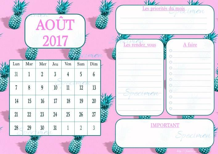 calendrier aout 2017 planner